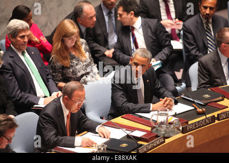 United States President Barack Obama listens to the remarks of United Nations Secretary-General Ban Ki-moon as he - Stock Photo
