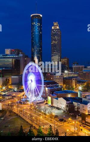 City skyline, elevated view over Downtown and the Centennial Olympic Park in Atlanta, Georgia, United States of - Stock Photo