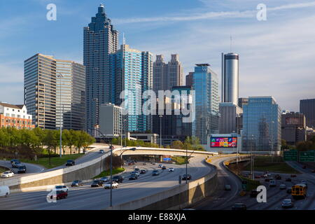 Interstate I-85 leading into Downtown Atlanta, Georgia, United States of America, North America - Stock Photo