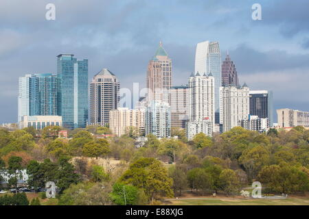 Midtown skyline from Piedmont Park, Atlanta, Georgia, United States of America, North America - Stock Photo