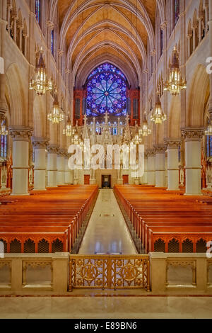 A view from the Altar to the rear of the Church of the Sacred Heart Basilica which is located in Newark, New Jersey. - Stock Photo