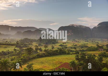 mogotes  in the evening landscape of Vinales, Pinar del Rio province, Cuba - Stock Photo
