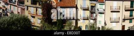panoramic view of apartment buildings in district of Le Suquet in Old Cannes; Cote d'Azur;; French Riviera South - Stock Photo