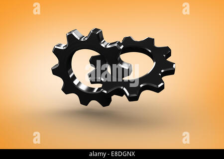 Composite image of linking chrome cog and wheel - Stock Photo