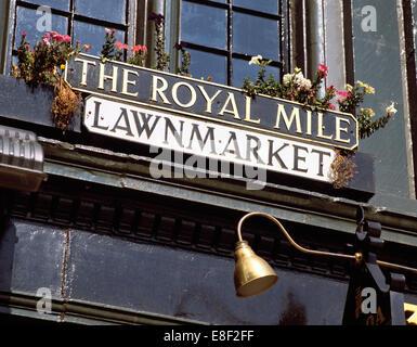 Street name sign in the Royal Mile, Edinburgh, Scotland - Stock Photo