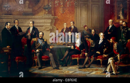 The Congress of Paris in 1856. Artist: Dubufe, Édouard Louis (1819-1883) - Stock Photo