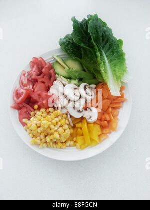 Raw fruit and vegetables on plate - Stock Photo