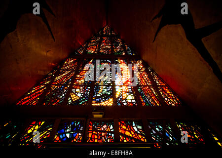 Brazil, Parana, View of Stained glass window in Cathedral of Maringa - Stock Photo