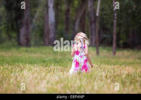USA, Little girl in field, rear view - Stock Photo