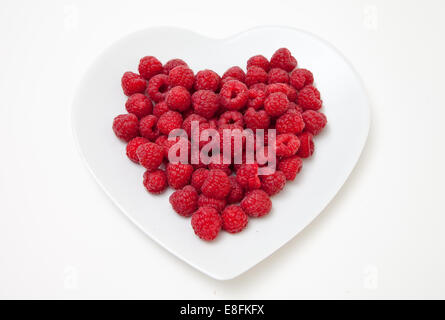 Raspberries on heart shaped plate - Stock Photo