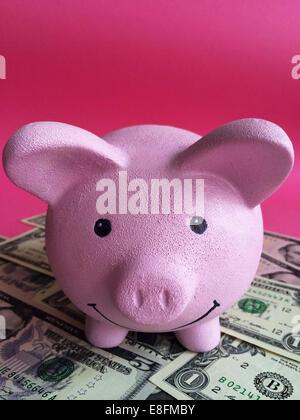 Close-up of pink piggy bank with dollar bills - Stock Photo