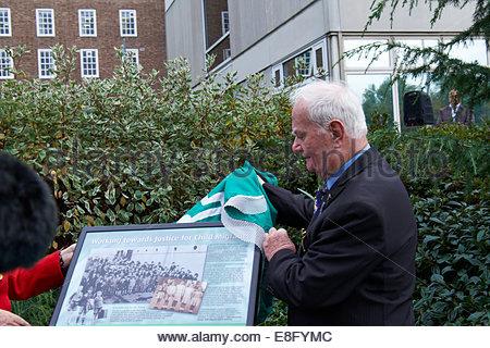 Nottingham, UK, 7 October 2014  John Hennessey, former child migrant  Former child migrants, many from Australia, - Stock Photo