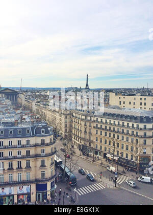 France, Paris, View of City from Galeris Lafayette rooftop - Stock Photo