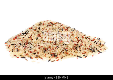 a pile of wild rice on a white background - Stock Photo