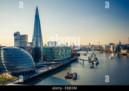 Thames and London City - Stock Photo