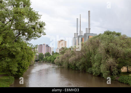 Heating plant, Ihme River, Linden, Hanover, Lower Saxony, Germany, Europe - Stock Photo