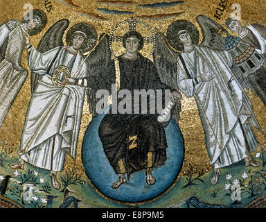 Christ in Majesty between St. Vitale and the Bishop Ecclesius. Mosaic. Apse of St. Vitale. Ravenna. Italy. - Stock Photo