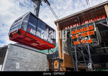 Aiguille du Midi cable car arriving at the station in Chamonix, French Alps, France, Europe - Stock Photo