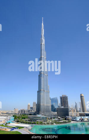 Burj Khalifa tower in Downtown Dubai United Arab Emirates - Stock Photo