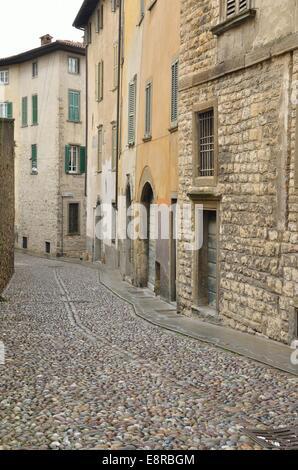 Cobbled street in Bergamo, northern Italy - Stock Photo