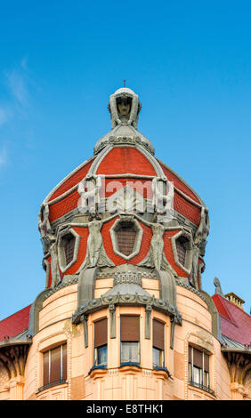 Cupola at Art Nouveau style building at Dugonics Square in Szeged, Hungary - Stock Photo