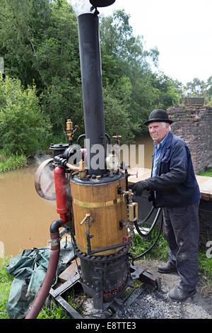 Steam powered water pump, Blists Hill Victorian town, Ironbridge, Shropshire, England, UK - Stock Photo