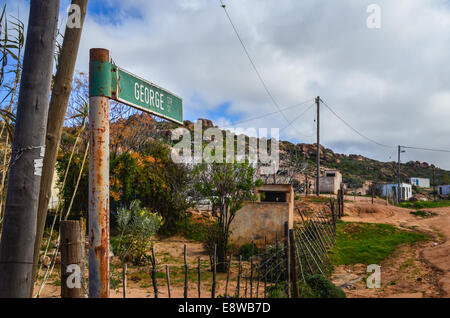 Dirt streets of Leliefontein, a community in the high hills of the Northern Cape province, South Africa - Stock Photo