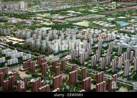 A scale model of Songjiang New City sprawls across the floor of the Urban Planning Museum in Thames Town, Songjiang. - Stock Photo