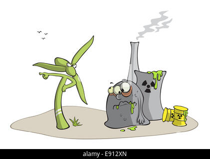 Windmill against nuclear power plant - Stock Photo
