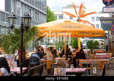 Frankfurt am Main, Hesse, Germany. Colourful pavement café off Leipziger Strasse, Bockenheim district. - Stock Photo