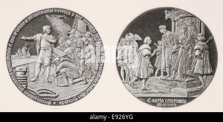 Medallion commemorating the four hundred year anniversary of the discovery of America by Christopher Columbus in - Stock Photo