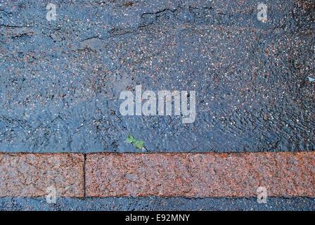 Wet asphalt road on city pavement on a rainy summer day. - Stock Photo