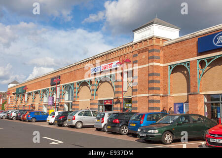 An out of town retail park, England, UK - Stock Photo