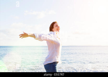 Portrait of Woman on the beach - Stock Photo