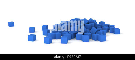 3D blue cubes on white background. - Stock Photo