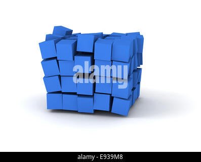 3D blue cubes burstting on white background. - Stock Photo