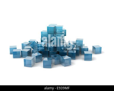 glass cubes scattering on white background. - Stock Photo