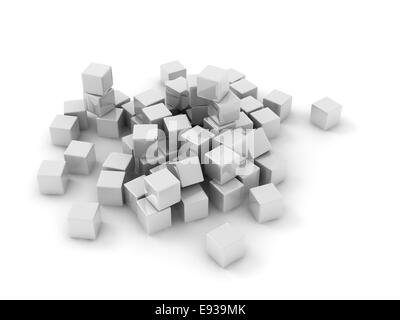 white cubes scattering on white background. - Stock Photo