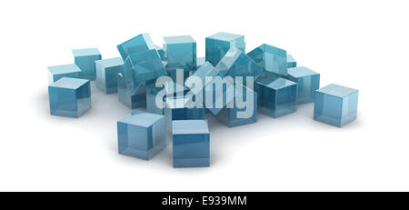 metallic cubes scattering on white background. - Stock Photo