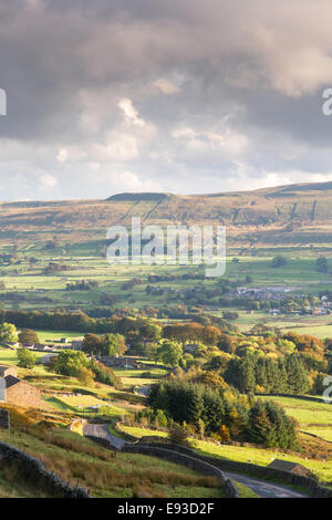 Autumn evening light over Wensleydale from the Buttertubs Pass, Yorkshire Dales National Park, North Yorkshire, - Stock Photo