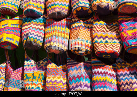 Colorful woven bags for sale, Chichicastenango, Guatemala - Stock Photo