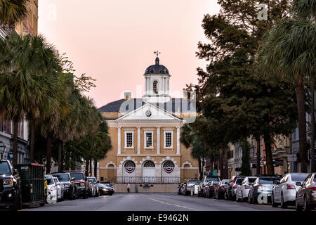 The Old Exchange & Provost Dungeon building at sunset along Broad Street in historic Charleston, SC. - Stock Photo