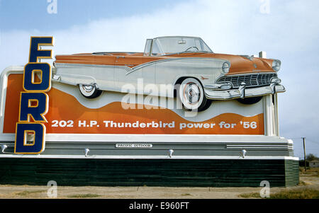 Billboard advertising Ford Thunderbird in 1956 - Stock Photo