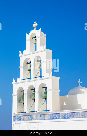 Bell tower of Greek church Panagia Platsani Oia Santorini Thira Cyclades Islands Greek Islands Greece EU Europe - Stock Photo
