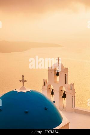 St Gerasimos church at sunset , Firostefani, Fira, Santorini, Thira, Cyclades islands, Aegean Sea, Greece, EU, Europe - Stock Photo