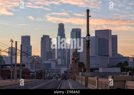 Los Angeles skyline from 1st Street Bridge,  California, USA - Stock Photo