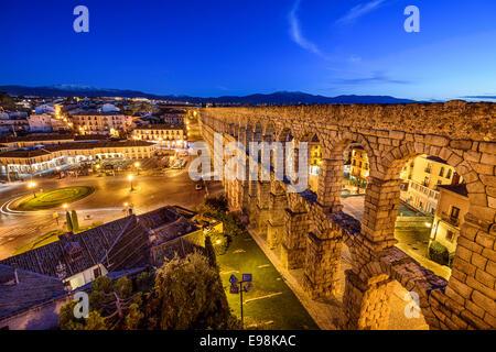 Segovia, Spain at the ancient Roman aqueduct at Plaza del Azoguejo. - Stock Photo