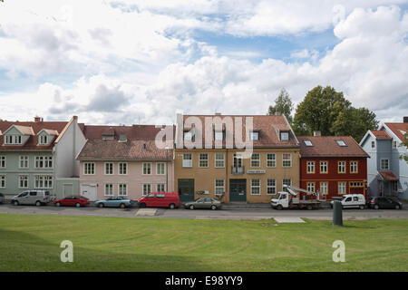 Tranquil view of nordic houses and cloudy sky. Oslo, Ostlandet. Norway - Stock Photo