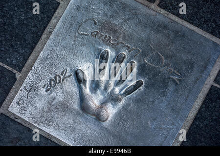 Handprint of American actress Cameron Diaz at the Esplanade Georges Pompidou in the city Cannes, French Riviera, - Stock Photo