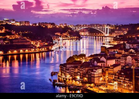 Porto, Portugal cityscape on the Douro River. - Stock Photo